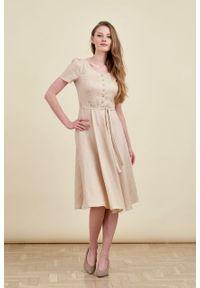 Marie Zélie - Sukienka Rosa lniana beżowa. Typ kołnierza: kokarda. Kolor: beżowy. Materiał: len. Długość rękawa: krótki rękaw. Długość: midi