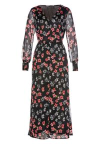 Beżowa sukienka bonprix z nadrukiem