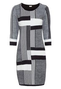 Sukienka dzianinowa bonprix biel wełny - czarny w graficzny wzór. Kolor: biały. Materiał: akryl, dzianina, materiał, wełna