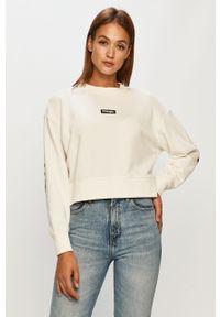 Biała bluza Wrangler z okrągłym kołnierzem, z długim rękawem, długa