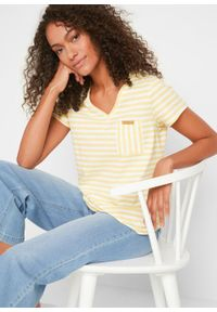 T-shirt w paski bonprix kremowy żółty - biały w paski. Okazja: na co dzień. Kolor: żółty. Wzór: paski. Styl: casual