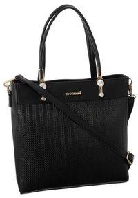 Czarna torebka Monnari z tłoczeniem, klasyczna, z aplikacjami