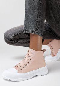 Born2be - Różowe Trampki Amaliel. Kolor: różowy. Materiał: jeans, materiał, guma. Szerokość cholewki: normalna. Wzór: gładki