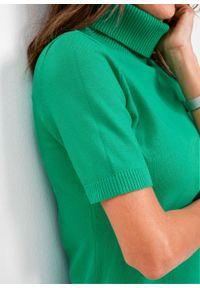 Sweter z golfem, krótki rękaw bonprix zieleń trawy. Typ kołnierza: golf. Kolor: zielony. Długość rękawa: krótki rękaw. Długość: krótkie. Styl: klasyczny