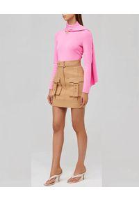 ACLER - Beżowa spódnica z kieszeniami. Kolor: beżowy. Materiał: bawełna, len. Wzór: moro. Styl: militarny