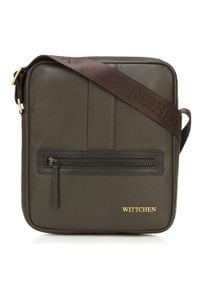 Wittchen - Męska listonoszka skórzana stębnowana mała. Kolor: brązowy. Materiał: skóra. Styl: casual, klasyczny, elegancki, sportowy