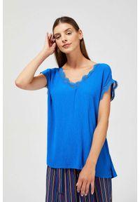 MOODO - Bluzka koszulowa z koronką. Materiał: koronka. Długość rękawa: bez rękawów. Wzór: koronka