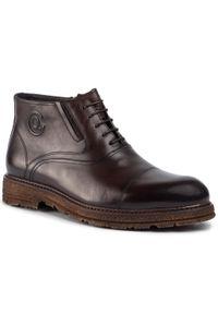 Brązowe buty zimowe QUAZI z cholewką, eleganckie