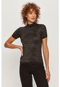 Czarny sweter Karl Lagerfeld krótki, klasyczny, z krótkim rękawem