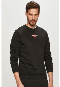 Czarna bluza nierozpinana Calvin Klein Jeans bez kaptura, na co dzień, casualowa, z aplikacjami
