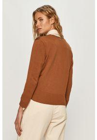 Brązowy sweter rozpinany DKNY na co dzień, długi