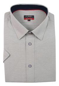 Szara elegancka koszula Jurel krótka, z krótkim rękawem