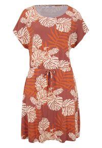 Sukienka z dżerseju z wiązanym paskiem bonprix brązowy marsala z nadrukiem. Kolor: czerwony. Materiał: jersey. Wzór: nadruk