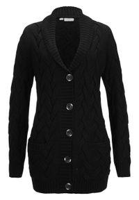 Sweter rozpinany z szalowym kołnierzem i wzorem w warkocze bonprix czarny. Kolor: czarny