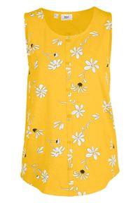 Top shirtowy bonprix żółty kanarkowy z nadrukiem. Kolor: żółty. Wzór: nadruk