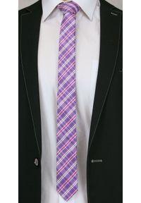 Alties - Fioletowo-Różowy Stylowy Krawat (Śledź) Męski -ALTIES- 5 cm, Wąski, w Kratkę. Kolor: różowy. Materiał: tkanina. Wzór: kratka. Styl: elegancki