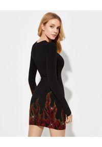 ALEXANDRE VAUTHIER - Czarna sukienka z kryształami Swarovskiego. Kolor: czarny. Materiał: materiał. Wzór: aplikacja. Typ sukienki: kopertowe, dopasowane