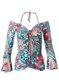 Shirt z odkrytymi ramionami i rękawami z falbanami bonprix turkusowy paisley. Kolor: niebieski. Wzór: paisley