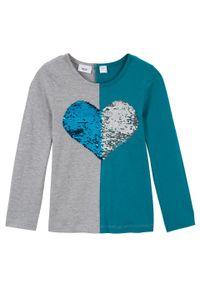 Shirt dziewczęcy z długim rękawem i obracanymi cekinami bonprix morski turkusowy - jasnoszary melanż - srebrny. Kolor: niebieski. Długość rękawa: długi rękaw. Długość: długie. Wzór: melanż