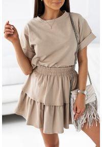 IVON - Komplet Dresowy Bluzka + Spódniczka - Beżowy. Kolor: beżowy. Materiał: dresówka