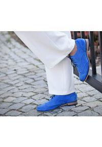 Niebieskie półbuty Zapato z cholewką, na co dzień, na niskim obcasie, na obcasie