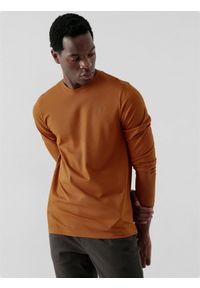 4f - Longsleeve regular męski. Kolor: brązowy. Materiał: bawełna, dzianina. Długość rękawa: długi rękaw