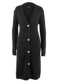 Długi sweter rozpinany, długi rękaw bonprix czarny. Kolor: czarny. Długość rękawa: długi rękaw. Długość: długie