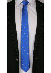 Niebieski krawat Angelo di Monti z motywem zwierzęcym, elegancki