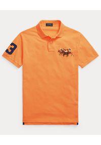 Ralph Lauren - RALPH LAUREN - Pomarańczowa polówka Triple-Pony. Typ kołnierza: polo. Kolor: pomarańczowy. Materiał: tkanina, bawełna, prążkowany. Długość: długie. Wzór: haft, aplikacja. Styl: sportowy, klasyczny #3