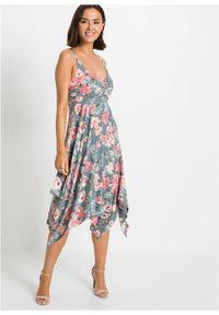 Sukienka z asymetryczną linią dołu, z przyjaznej dla środowiska wiskozy bonprix niebiesko-zielony w kwiaty. Kolor: szary. Materiał: wiskoza. Wzór: kwiaty. Typ sukienki: asymetryczne