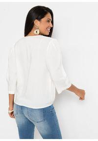 Bluzka z ażurowym haftem, z przyjaznej dla środowiska wiskozy bonprix biel wełny. Kolor: biały. Materiał: wiskoza, wełna. Wzór: haft, ażurowy