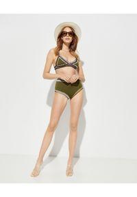 KIINI - Top od bikini Wren. Kolor: zielony. Materiał: bawełna, dzianina, materiał, elastan, poliester. Wzór: moro, aplikacja, kolorowy
