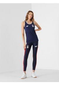 4f - Legginsy funkcyjne damskie Serbia - Tokio 2020. Stan: podwyższony. Kolor: niebieski. Materiał: włókno. Sezon: lato. Sport: fitness
