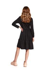 Czarna sukienka TOP SECRET ze stójką, w kropki