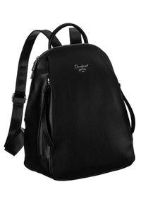 DAVID JONES - Plecak damski czarny David Jones 6607-2A BLACK. Kolor: czarny. Materiał: skóra ekologiczna