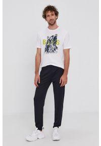 BOSS - Boss - T-shirt bawełniany Boss Casual. Okazja: na co dzień. Kolor: biały. Materiał: bawełna. Wzór: nadruk. Styl: casual