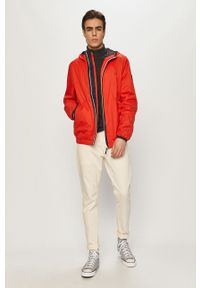 Czerwona kurtka Pepe Jeans gładkie, casualowa, z kapturem