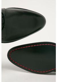 Czarne półbuty Hugo z cholewką, eleganckie, na sznurówki