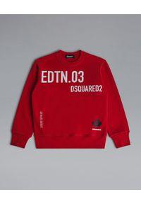 DSQUARED2 KIDS - Czerwona bluza z bawełny 4-14 lat. Okazja: na co dzień. Kolor: czerwony. Materiał: bawełna. Długość rękawa: długi rękaw. Długość: długie. Wzór: nadruk. Sezon: lato. Styl: casual