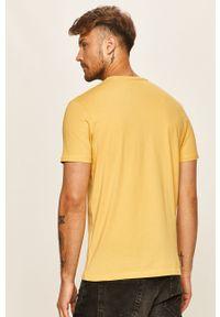 Żółty t-shirt Pepe Jeans na co dzień, z nadrukiem, z okrągłym kołnierzem