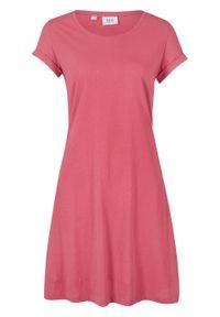 Sukienka shirtowa, krótki rękaw bonprix dymny malinowy. Kolor: różowy. Materiał: bawełna. Długość rękawa: krótki rękaw