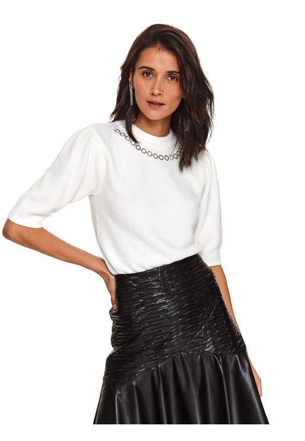 Biały sweter TOP SECRET krótki, z krótkim rękawem