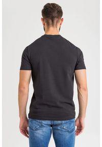 Czarny t-shirt Emporio Armani z nadrukiem, z okrągłym kołnierzem #4