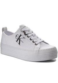 Białe półbuty Calvin Klein Jeans eleganckie, na sznurówki, z cholewką