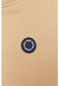 Pepe Jeans - Bluza bawełniana. Okazja: na co dzień. Typ kołnierza: kaptur. Kolor: beżowy. Materiał: bawełna. Wzór: aplikacja. Styl: casual