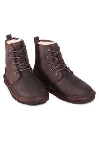 Brązowe buty zimowe Ugg casualowe, z cholewką, na co dzień