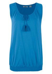 Długi top z dołem przeszytym cienkimi gumkami bonprix lodowy niebieski. Kolor: niebieski. Długość: długie