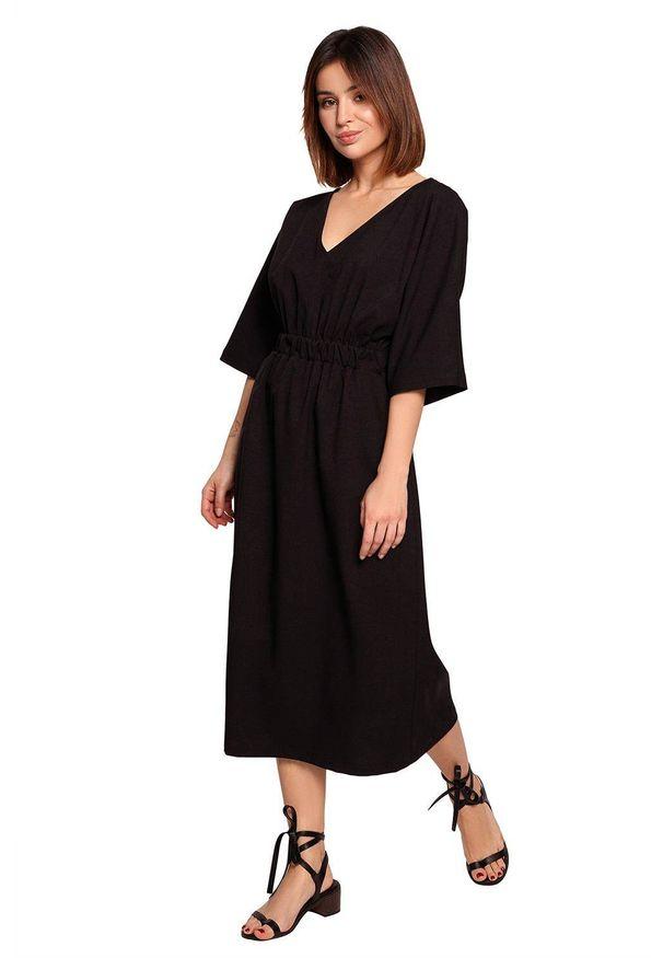 BE - Swobodna sukienka midi z szeroką gumą w pasie czarna. Okazja: na co dzień. Kolor: czarny. Materiał: guma. Sezon: wiosna, lato. Typ sukienki: proste. Styl: boho, casual. Długość: midi