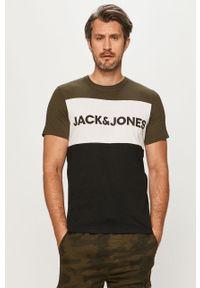 Zielony t-shirt Jack & Jones z okrągłym kołnierzem, na co dzień, casualowy