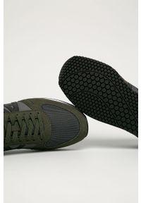 Zielone sneakersy Armani Exchange z cholewką, na sznurówki, z okrągłym noskiem